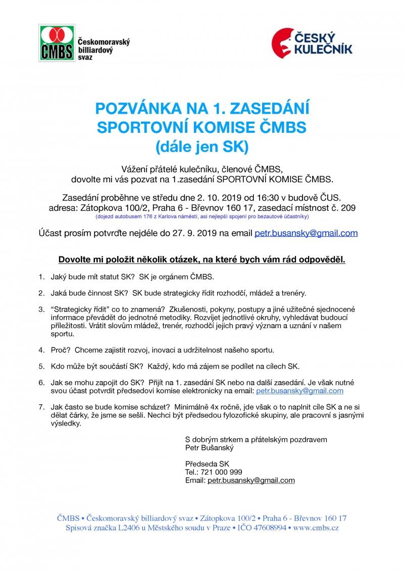 První jednání SK ČMBS